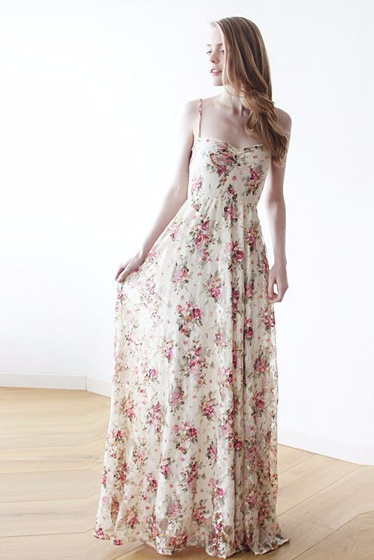 Sweetheart neckline maxi pink floral lace dress