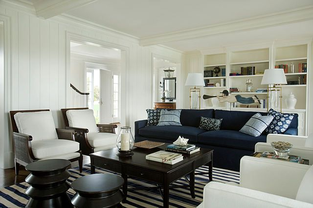 Nantucket...navy Sofa, By Architect Matthew Sapera Fine Homes And Interiors  By Barbara Waltman