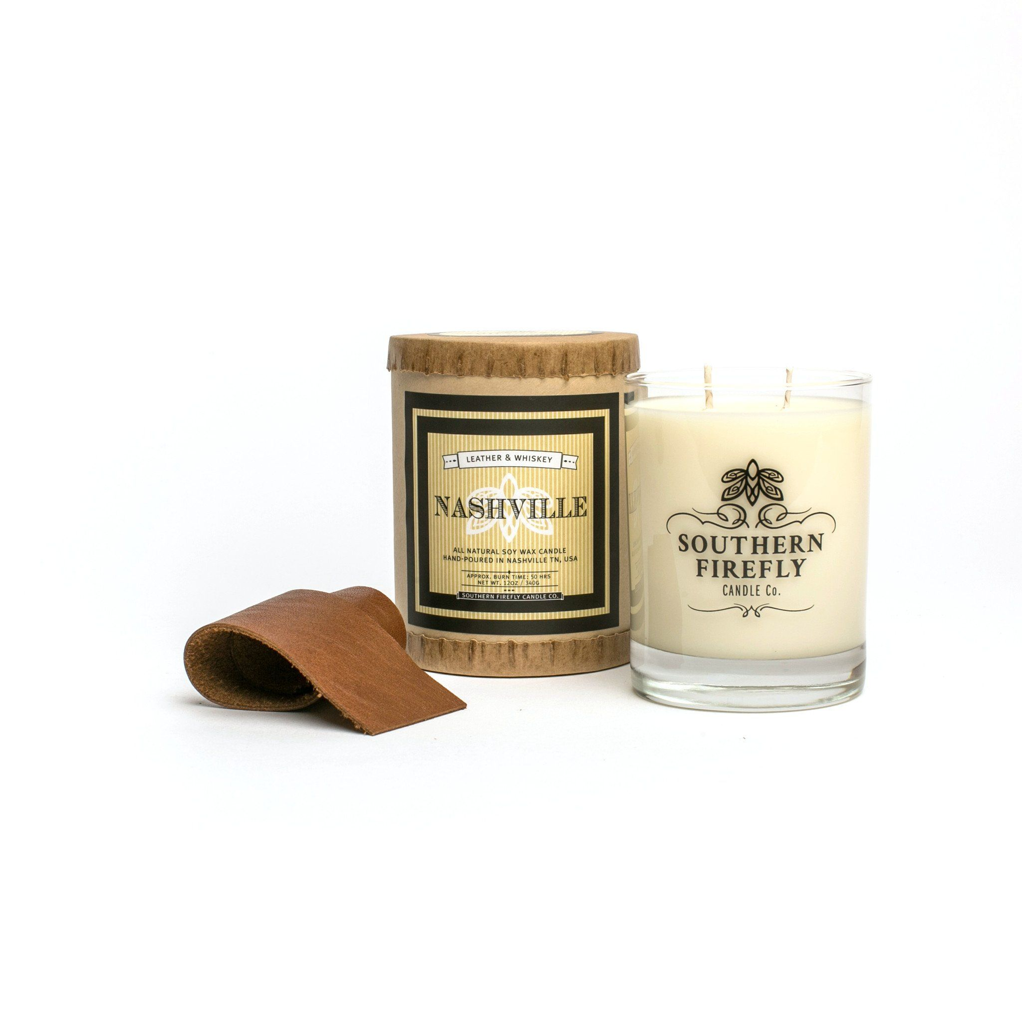 Nashville - Leather and Whiskey 14oz Glass - Southern Firefly Candle ...
