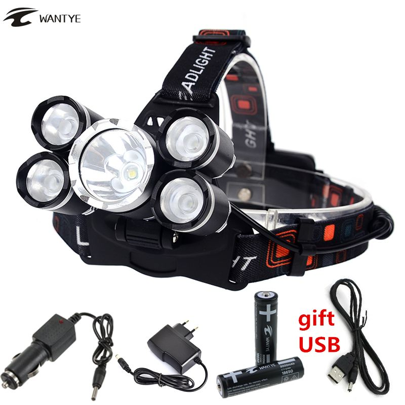 5 Led Phare Lampe Frontale Haute Puissance Rechargeable Head Light