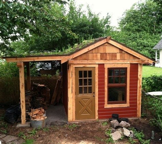 Best Garden Shed With Woodshed And Grass Roof Garden Sheds 400 x 300