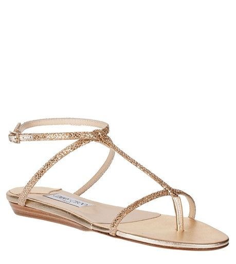 Fiona gold glitter fabric sandal strongJimmy Choo/strong - Designer Shoes at ShopSavannahs.com