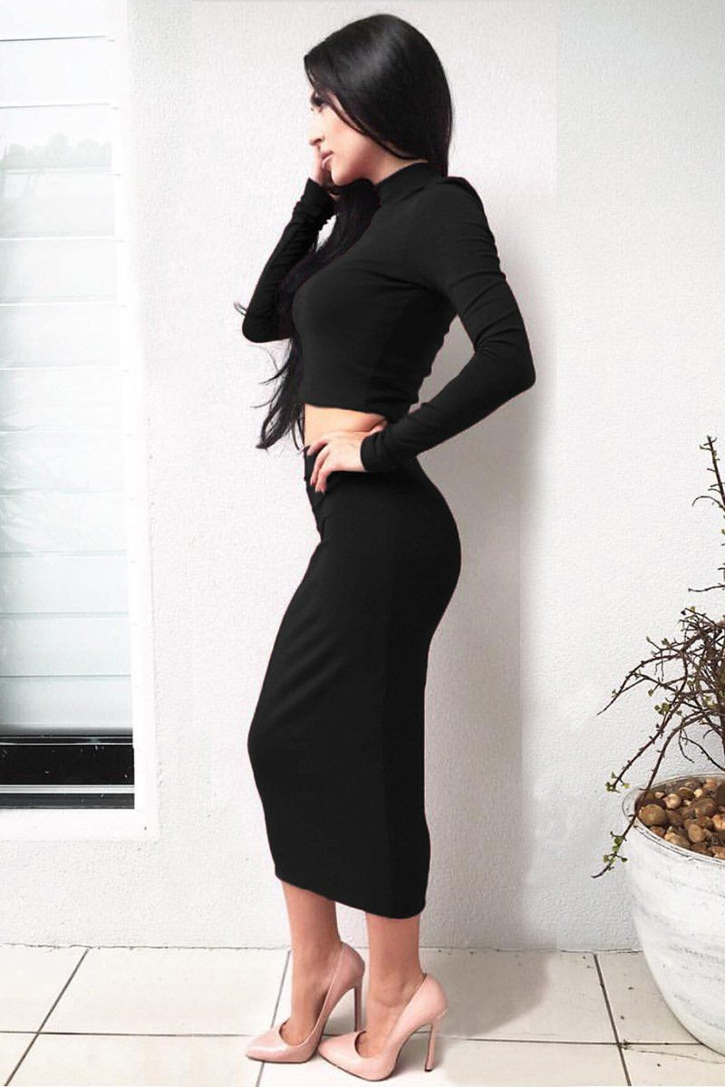 Pure color soft tshirt with kneelength two pieces dress set