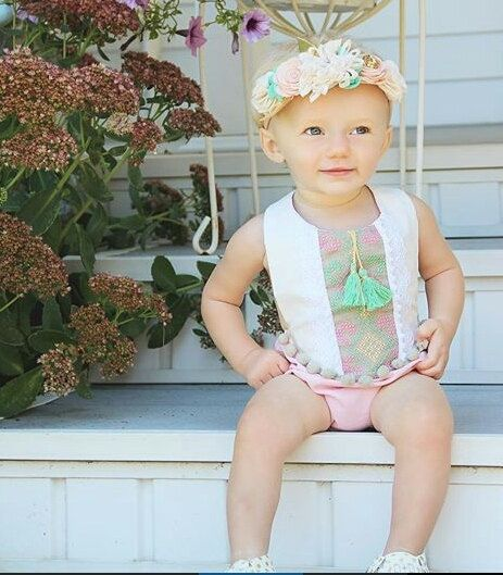 1b18d0449 Mint /Pink Baby Girl Romper/ Boho Chic Sunsuit/ Baby Clothes/ First ...