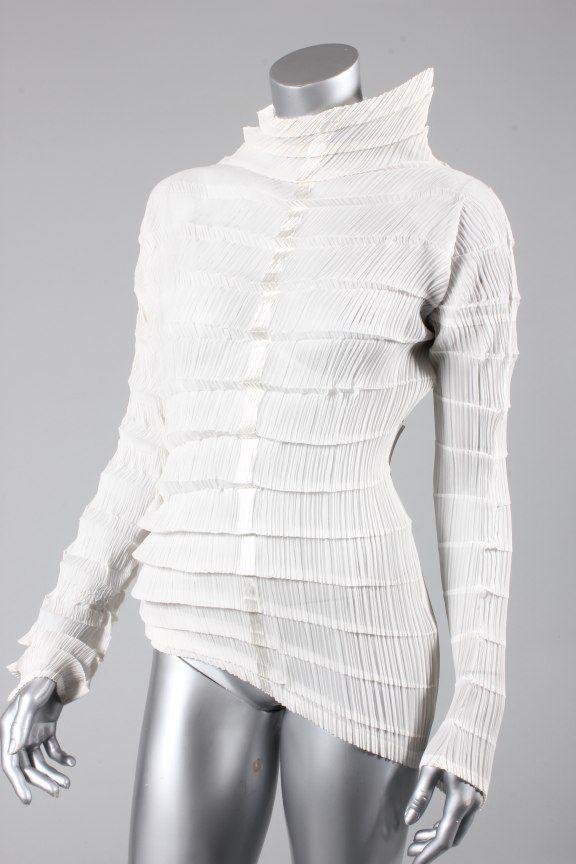 Issey Miyake, white silk top, probably 1990s