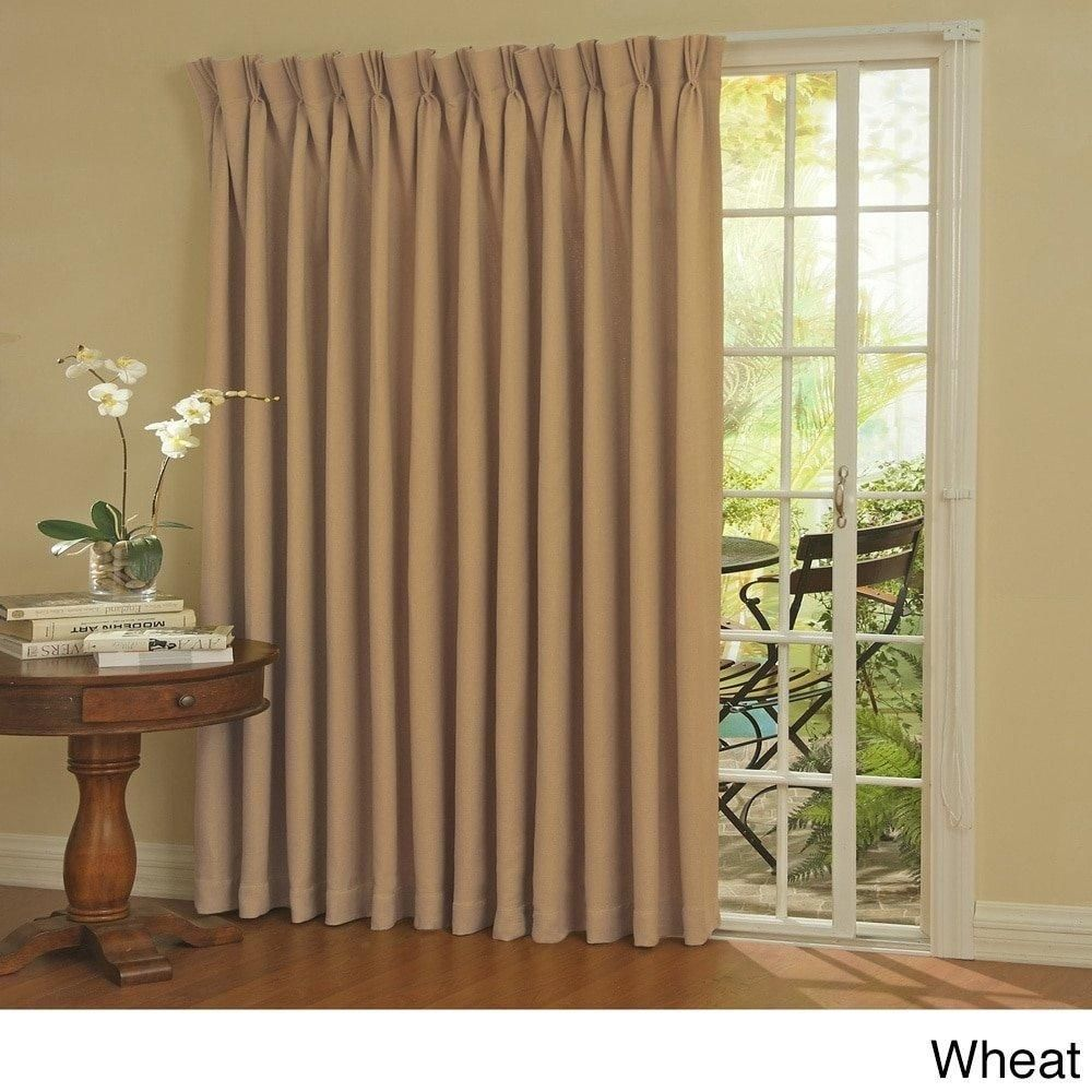 84 Inch Wheat Solid Color Sliding Door Curtain Light Brown Window
