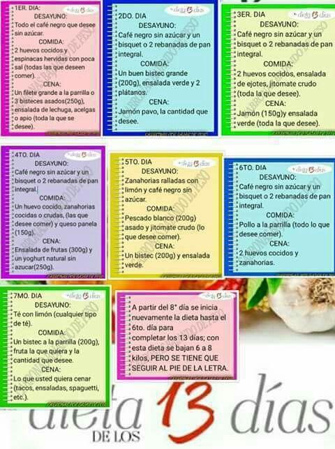Dieta de 13 dias para bajar de peso