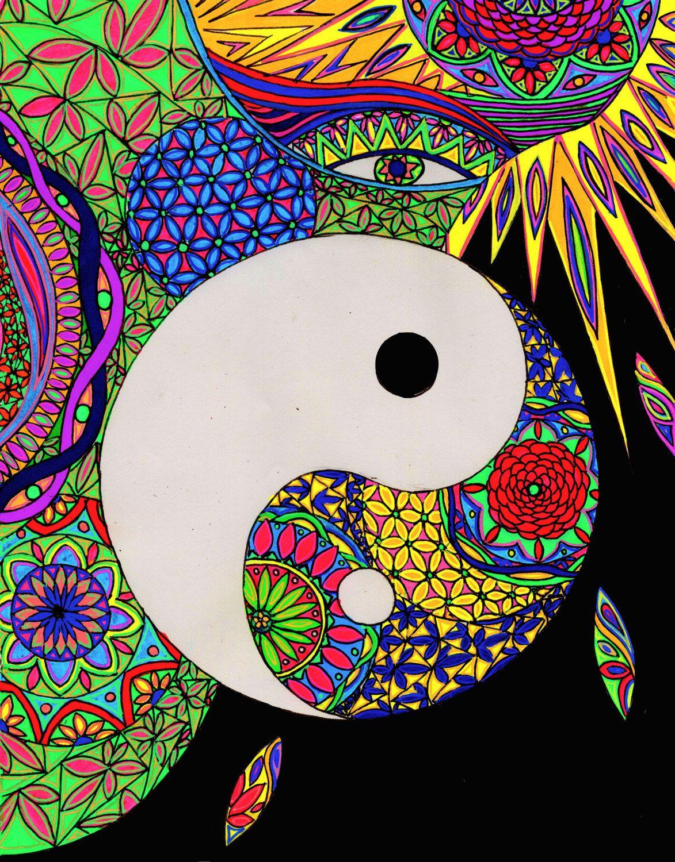 Printable Coloring Page Hand Drawn Yin Yang Design D 121