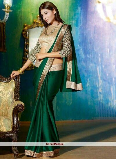 Bottle Green Shaded Satin Saree Fashion Green Saree Saree Designs