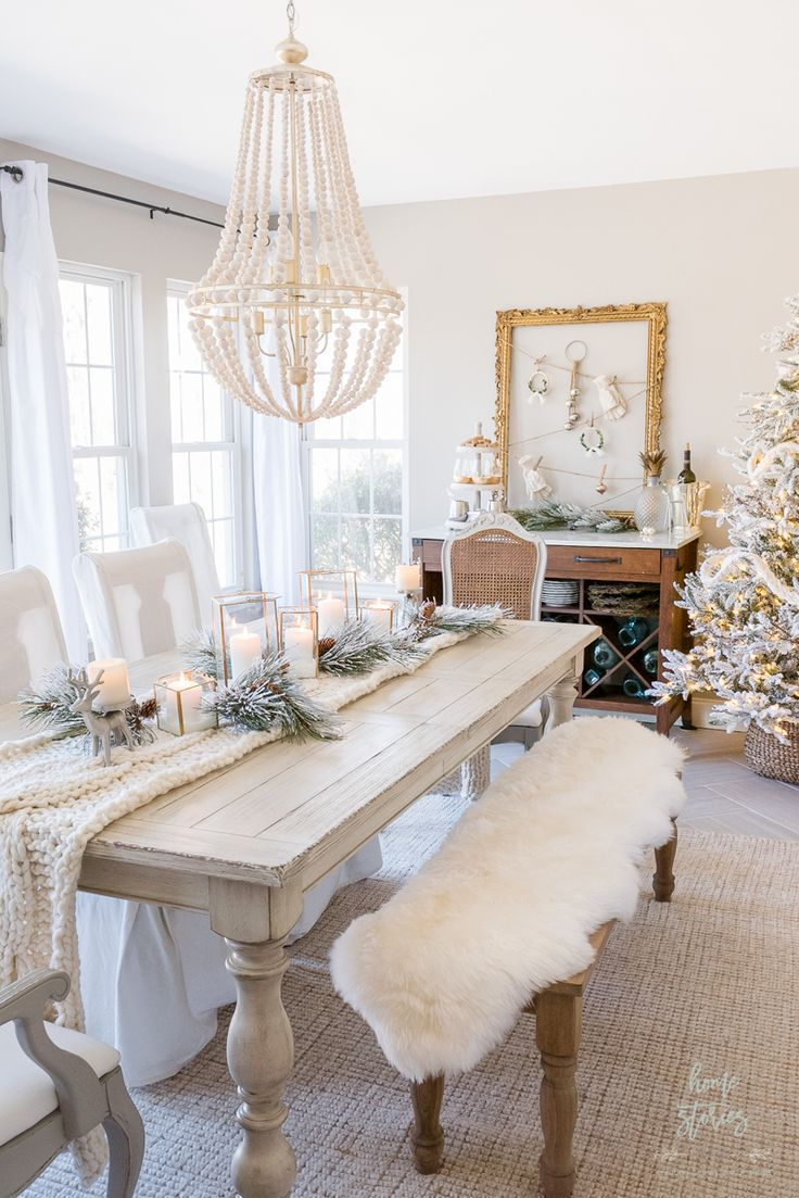 Photo of Winter White Christmas Dining Room