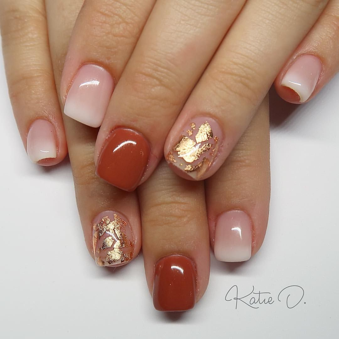 Fun Fall Inspired Set Akzentz Luxio In Blush Coy Relentless With Some Copper Foil Thanksgiving Nails Thanksgiving Nail Art Fall Gel Nails