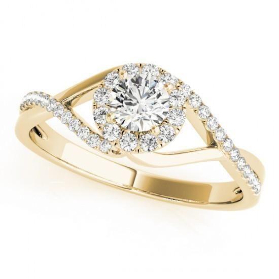 NEW LADIES 14k YELLOW GOLD ROUND DIAMOND DOUBLE TWIST WEDDING ENGAGEMENT RING  #Solitaire