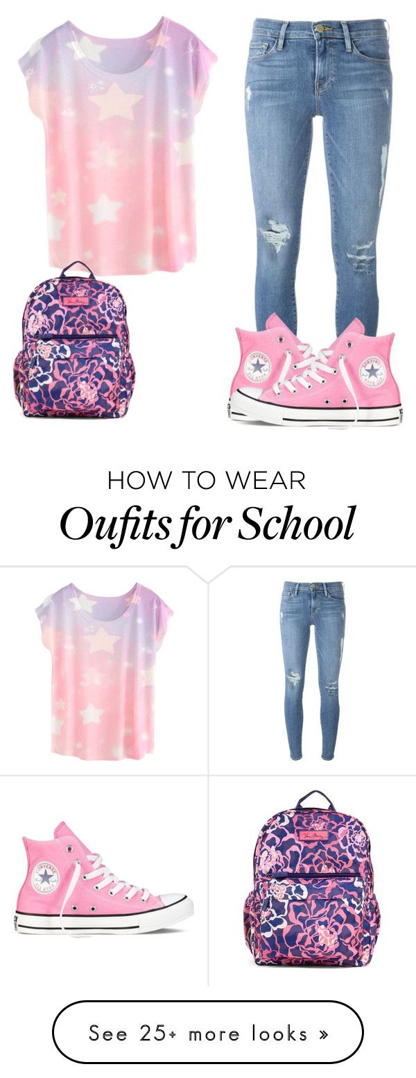 """""""School"""" by gracesfashions on Polyvore featuring Frame Denim, Converse and Vera Bradley"""