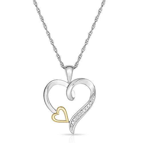 14K Two-tone D//C White Rhodium Anchor Heart Pendant