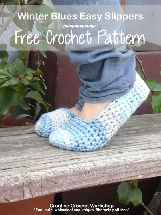 Winter Blues Easy Slippers Crocheting Pinterest Crochet