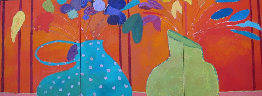 Vase Chat, Triptych, oil on board, 24 x 72 inches : Vased Flowers : Fauvist Modern Milton Avery Primitive Naive Art Abstracted Landscapes Stilllifes : JILL FINSEN PAINTINGS