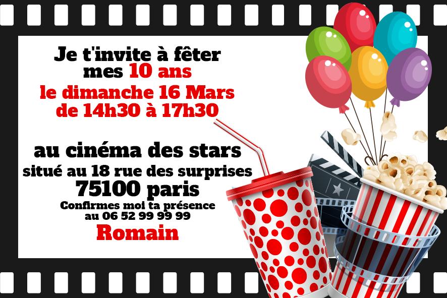 Invitation Anniversaire Cinema Blockbuster Gratuite A Personnaliser