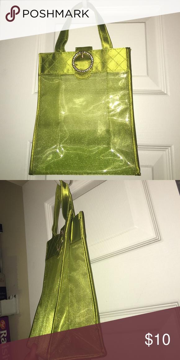 green sheer shimmer clear bag gem encrusted tote nwt my posh picks