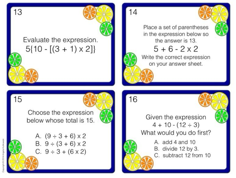 Order Of Operations Task Cards Parentheses Brackets