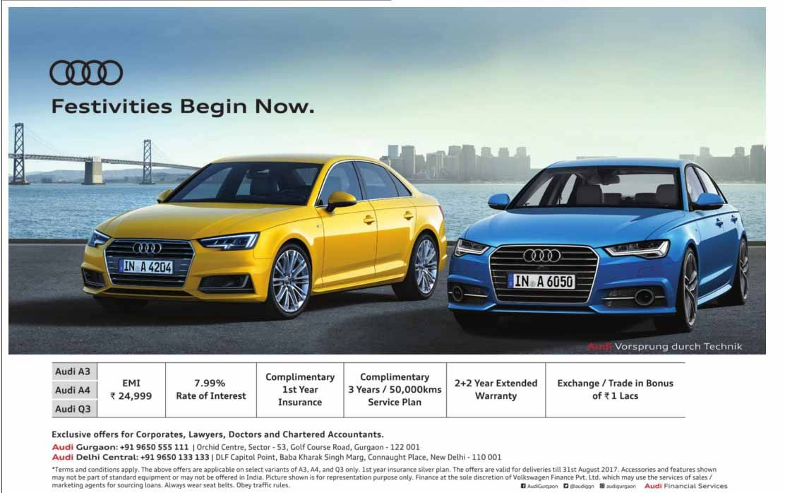 Rs. 24,999 EMI on Audi A3, A4, and Q3 | News | Pinterest | Audi a3
