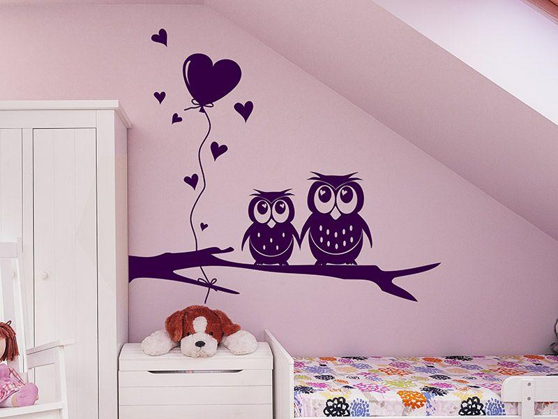 Kinderzimmer ideen für mädchen eule  Mit dem Wandtattoo Süßes Eulen Pärchen kannst Du Deine Wand im ...
