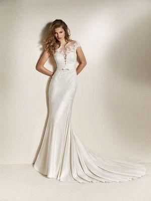 chai: vestido novia sirena cuerpo ilusión efecto 2 piezas. coleccion