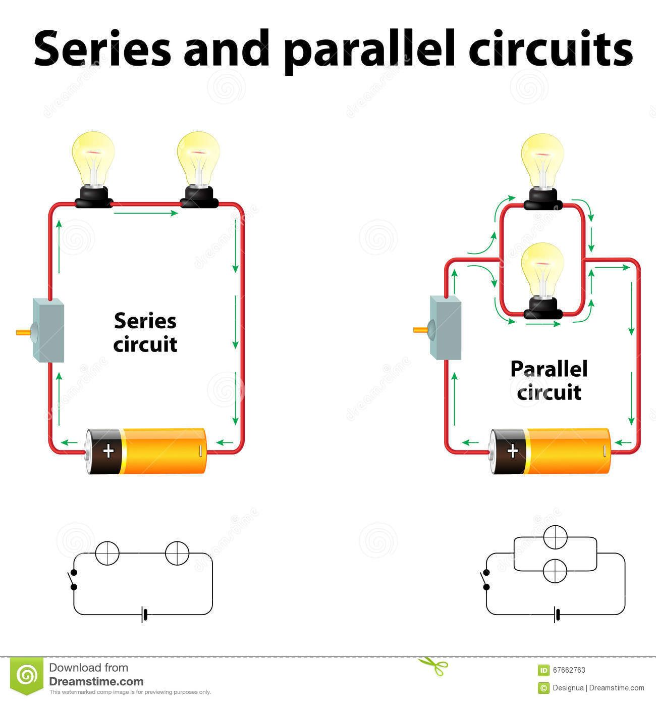 Series And Parallel Circuits Stock Vector Illustration Of Lamp Circuits 67662763 Series And Parallel Circuits Electric Circuits For Kids Circuits Science [ 1390 x 1300 Pixel ]