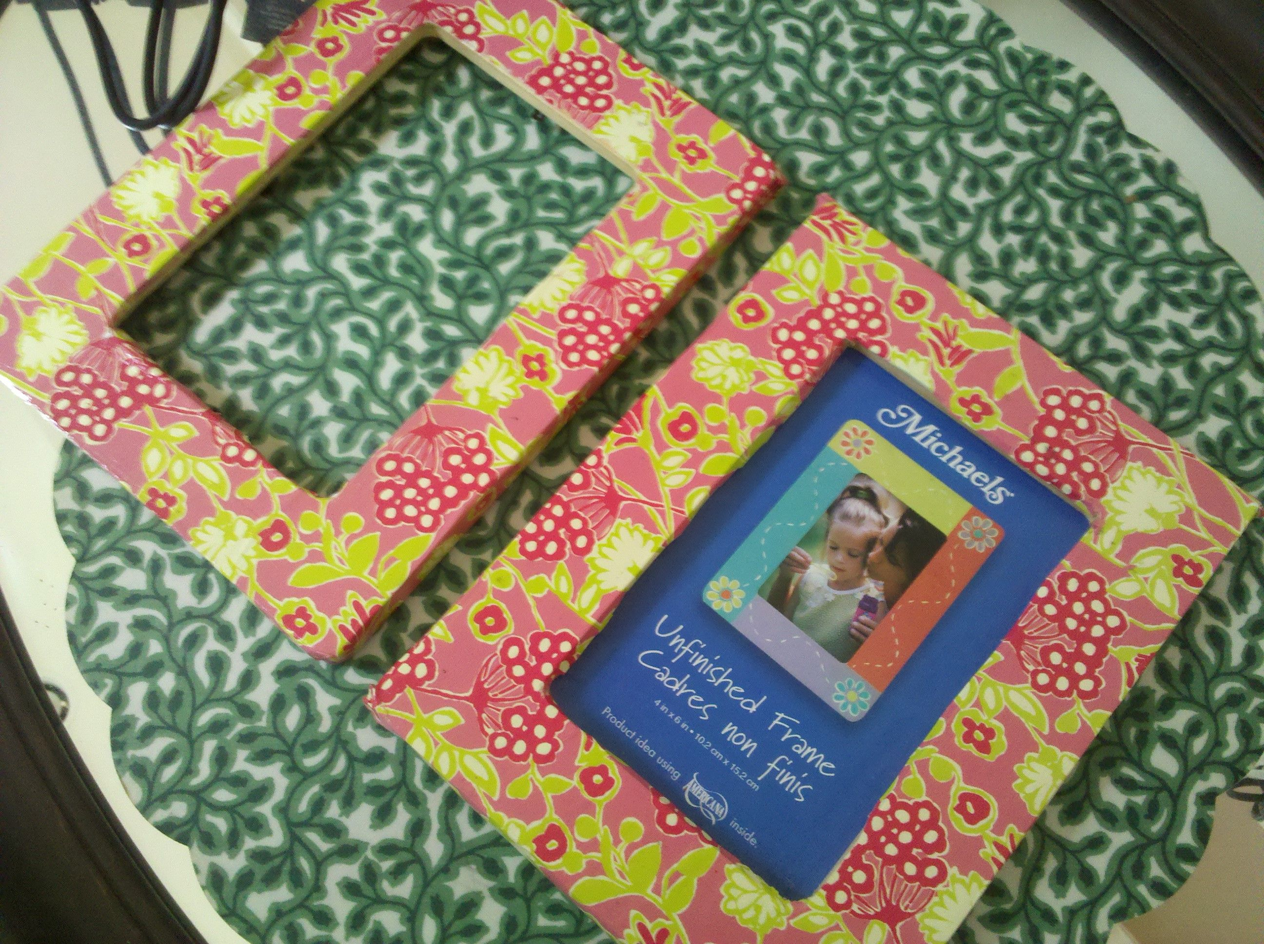 Mod Podge Lilly Pulitzer wrapping paper picture frames