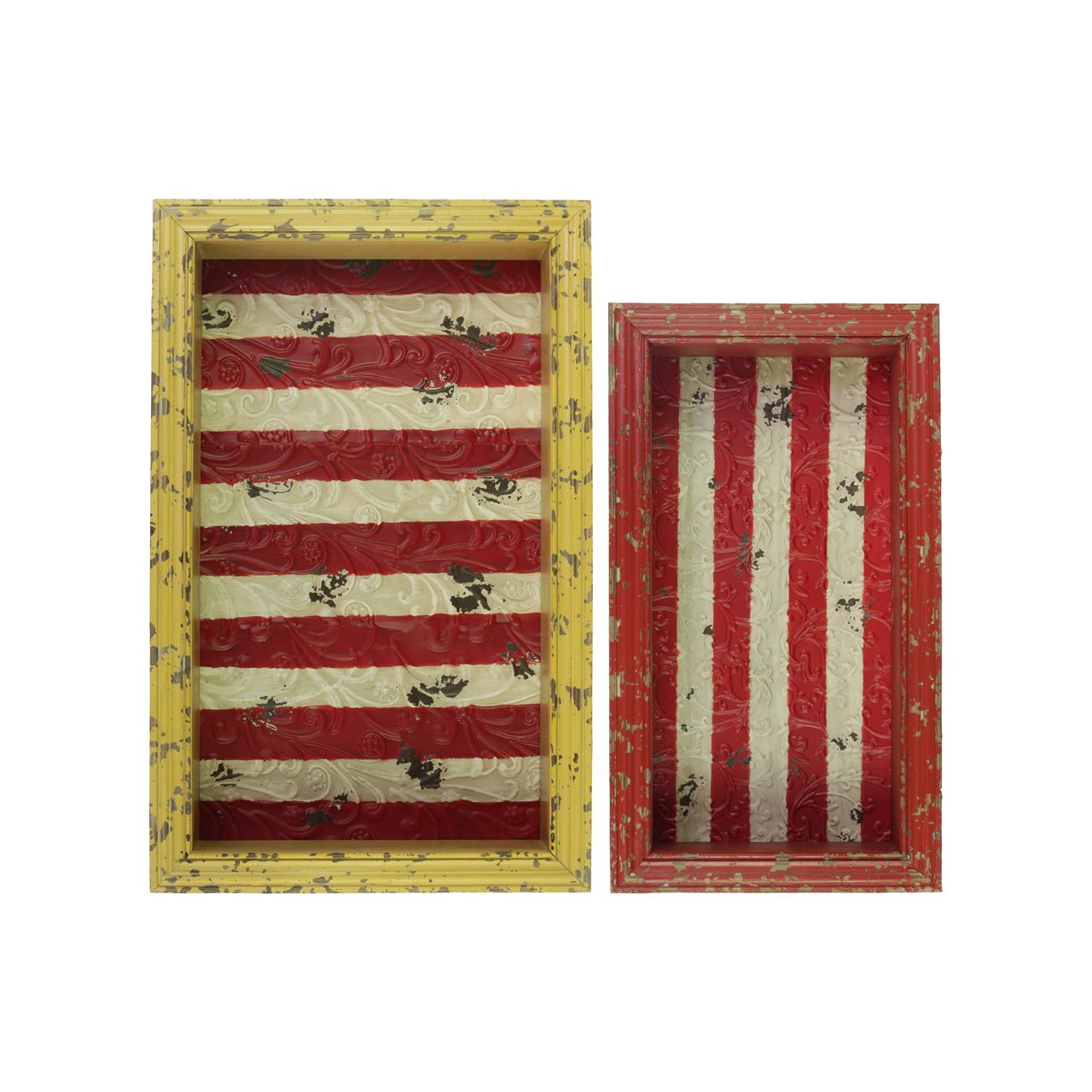 Urban trends collection distressed and yellow rectangular shadow box