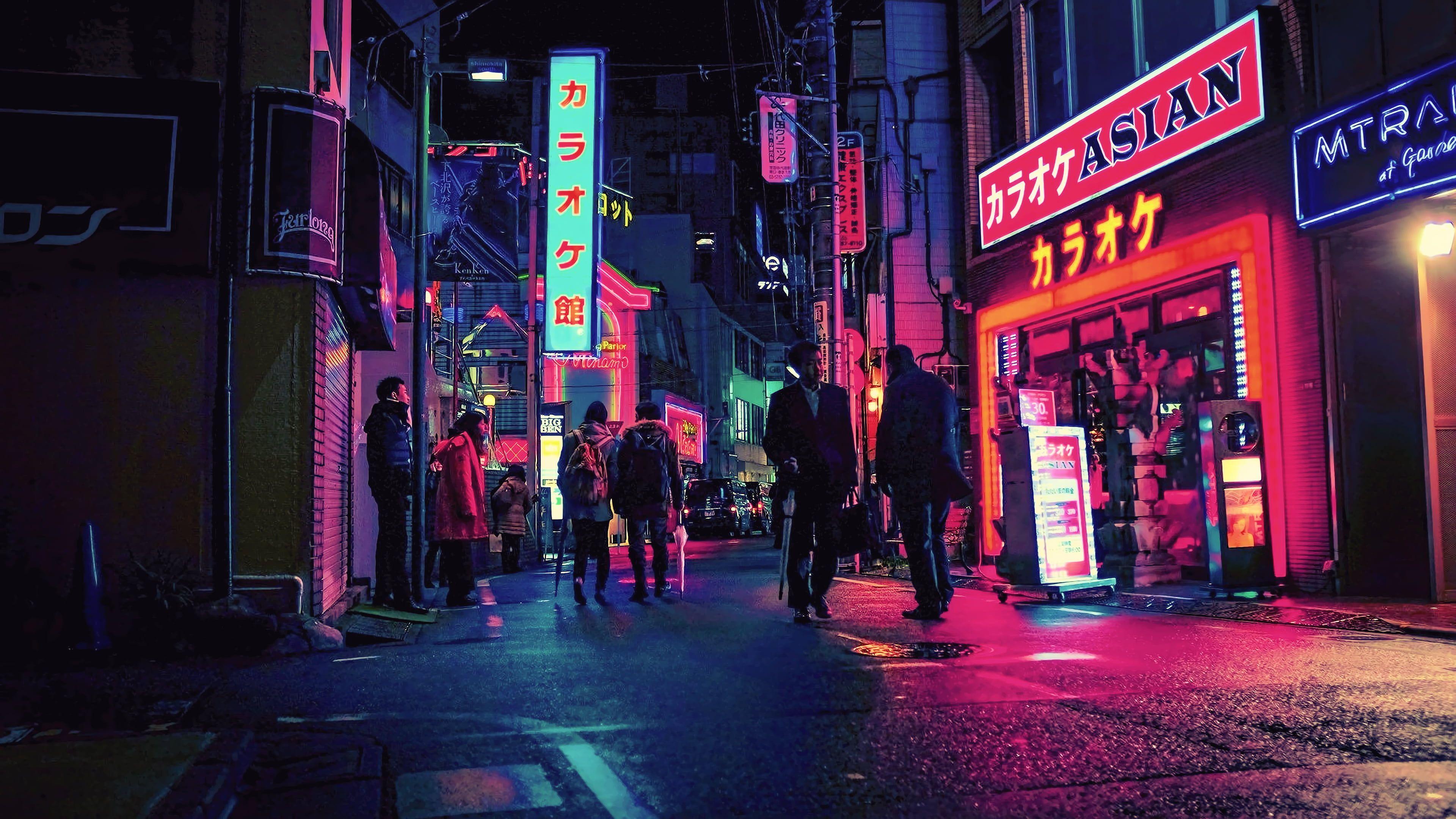 Night Japan City Street Neon 4k Wallpaper Hdwallpaper Desktop In 2020 Neon Wallpaper Neon Noir Cyberpunk City