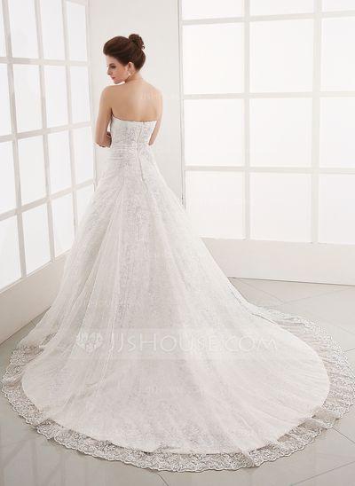 b4b0c78d0 Corte A Princesa Estrapless Tren de la catedral Satén Encaje Vestido de  novia con Bordado (002011586)