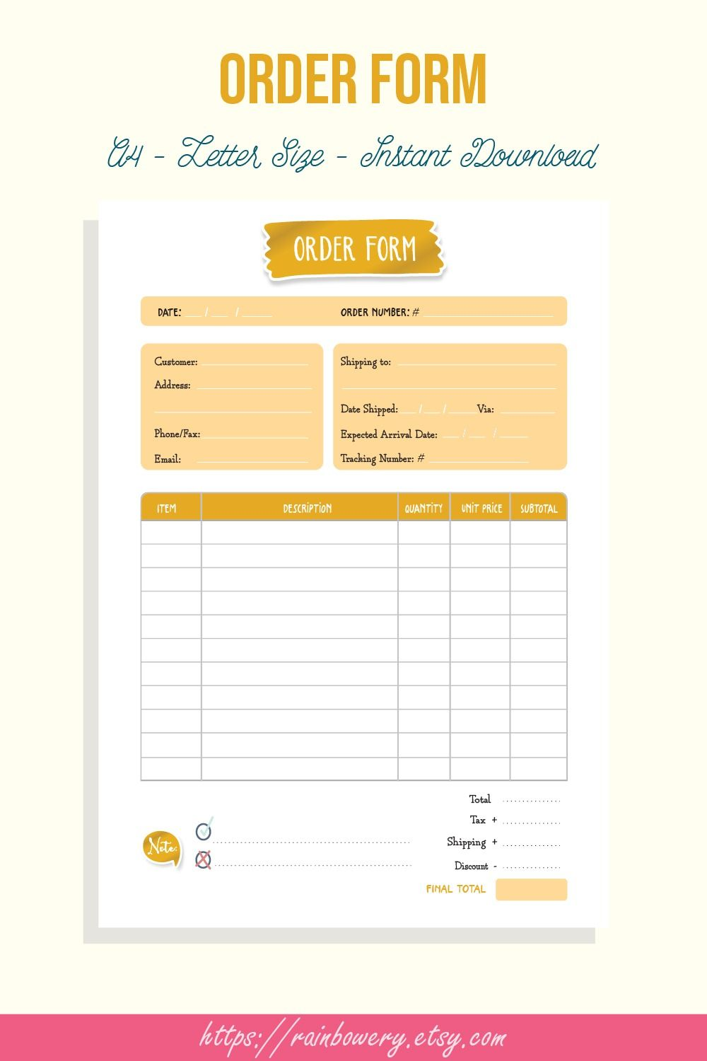 Order Form Template Printable Small Business Order Form Invoice