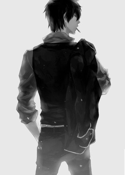anime guy back view