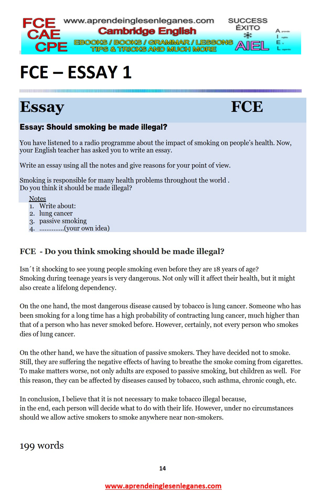 Example Essay Example Article Fce Writing Cae Writing Ejemplos De