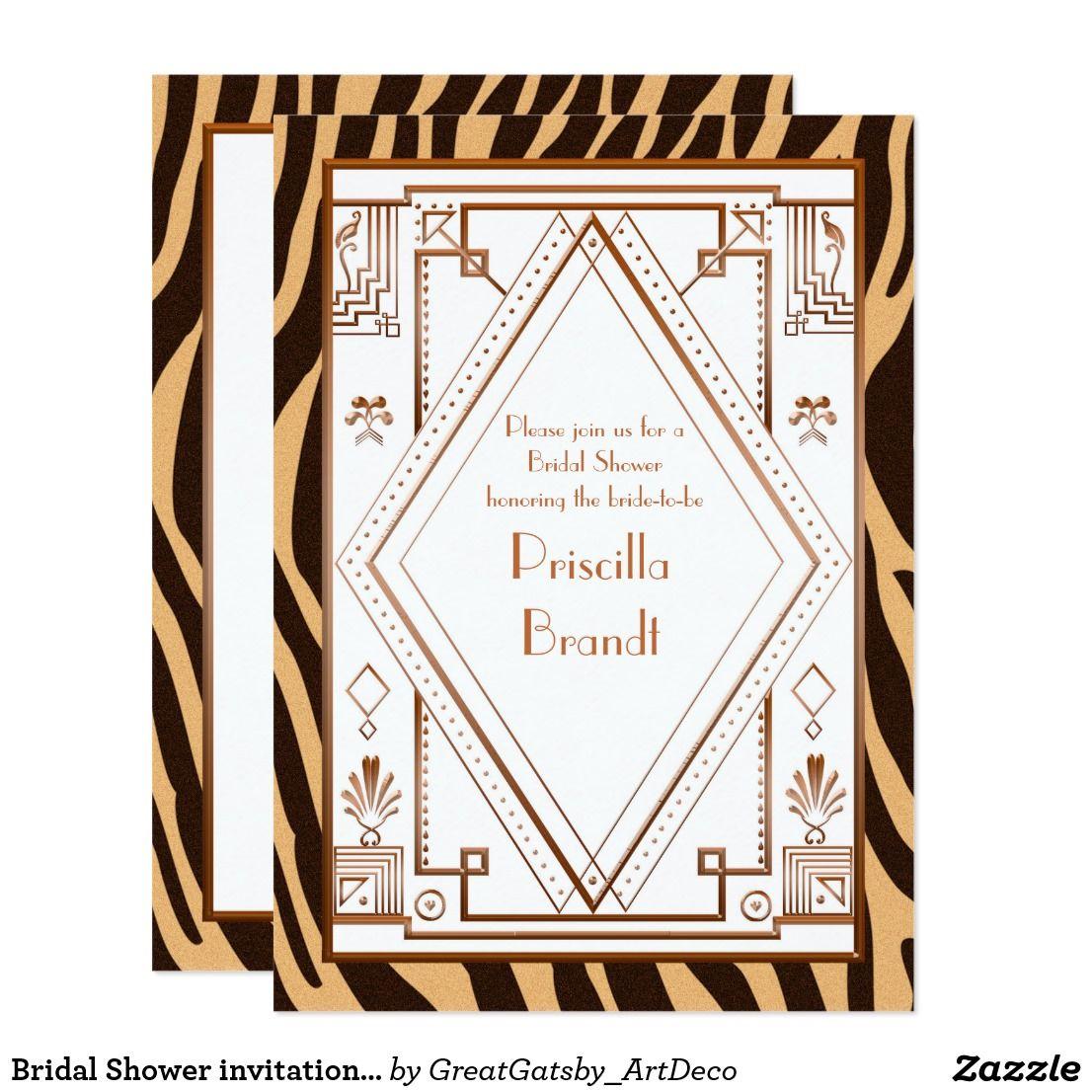 Bridal Shower Invitation Great Gatsby Zebra Fun