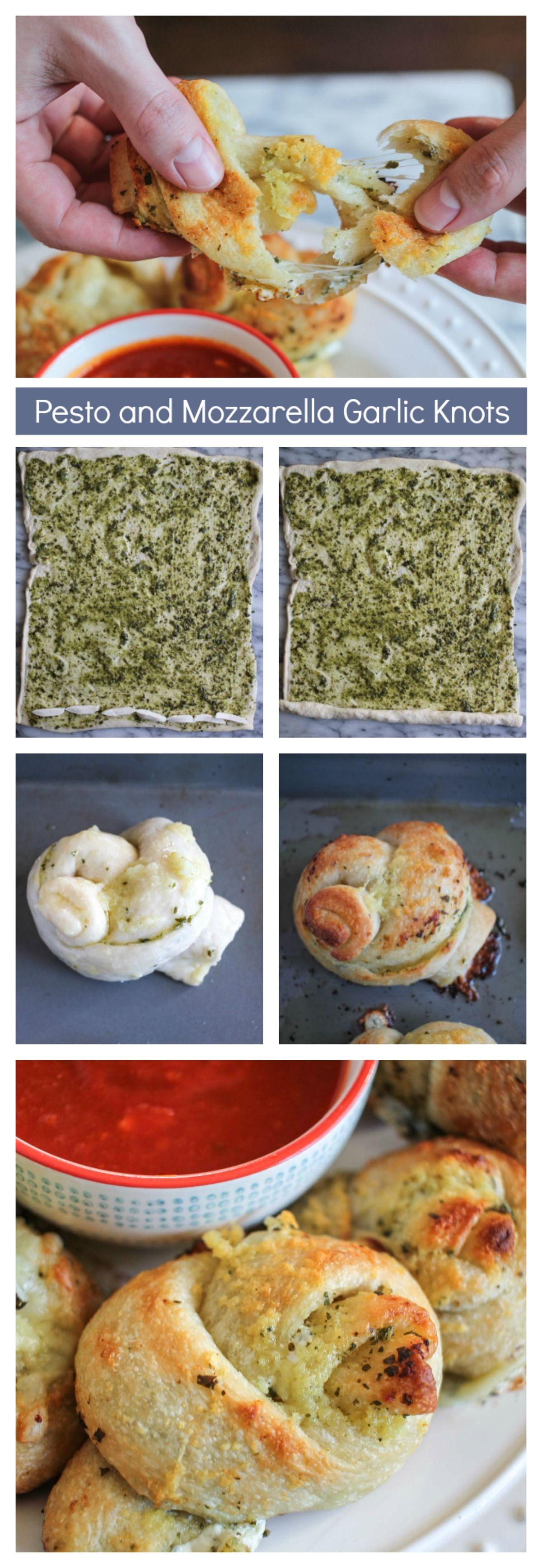 Pesto and Mozzarella Stuffed Garlic Knots