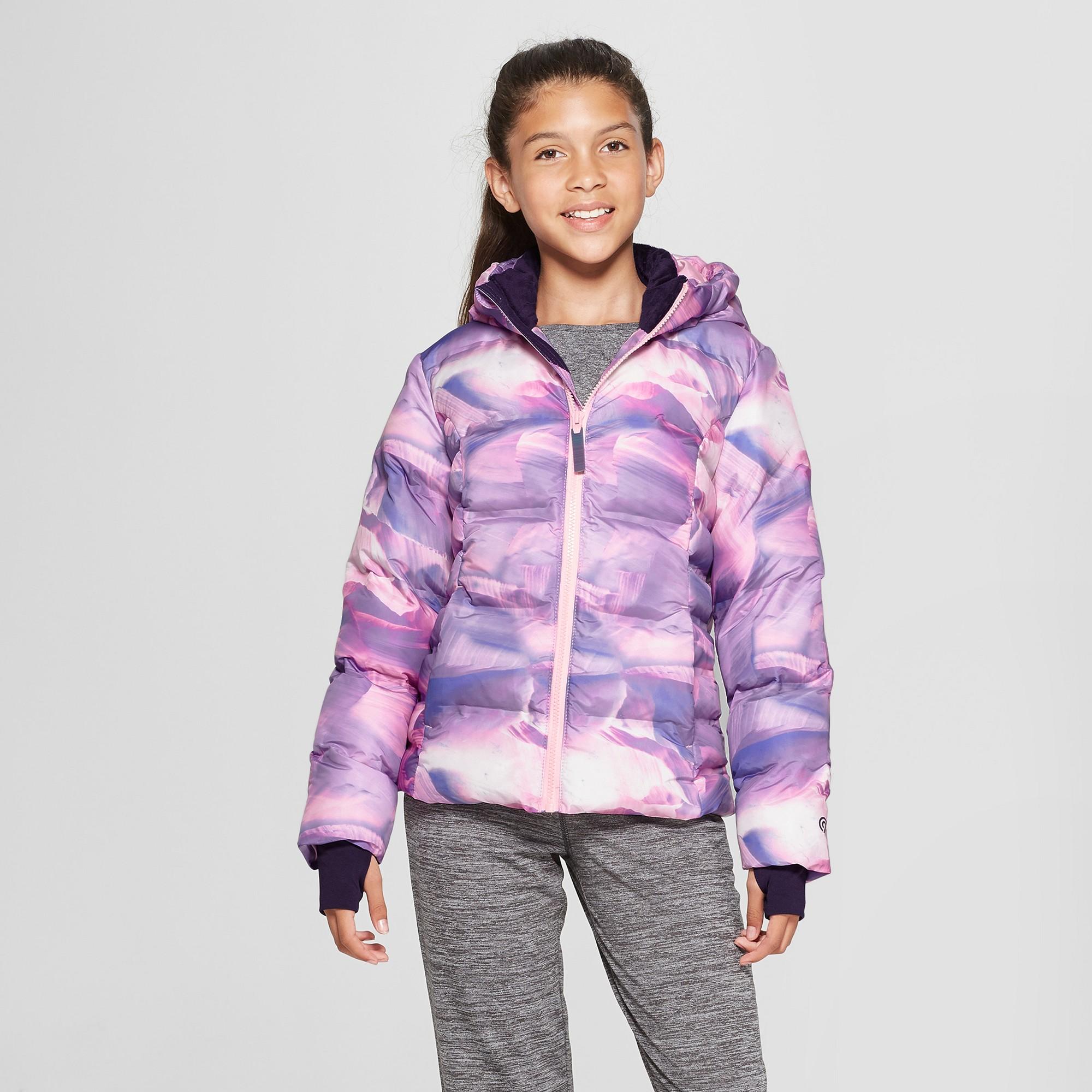 4e4abe8c5d57 Girls  Printed Puffer Jacket - C9 Champion Lilac Xxl