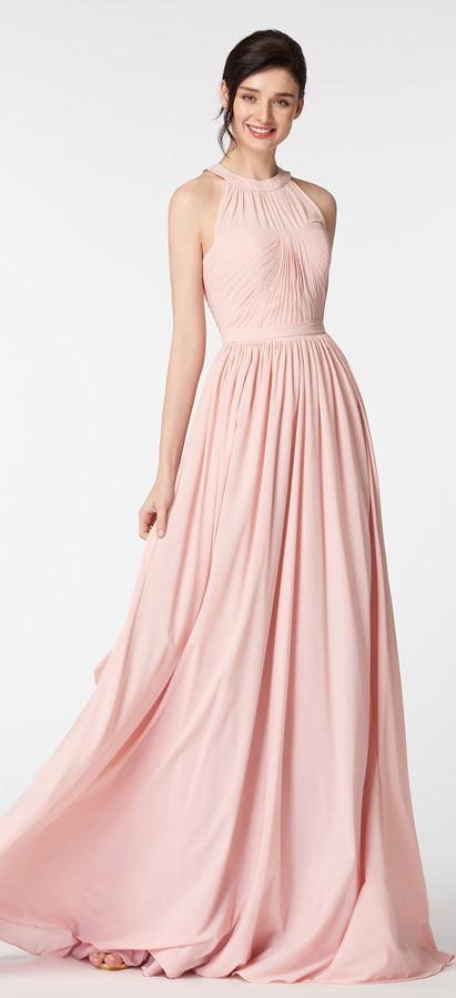 Halter Blush Bridesmaid Dresses | Rosas y Vestiditos
