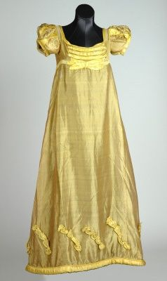Yellow silk evening dress, 1817. Leeds Costume Collection.