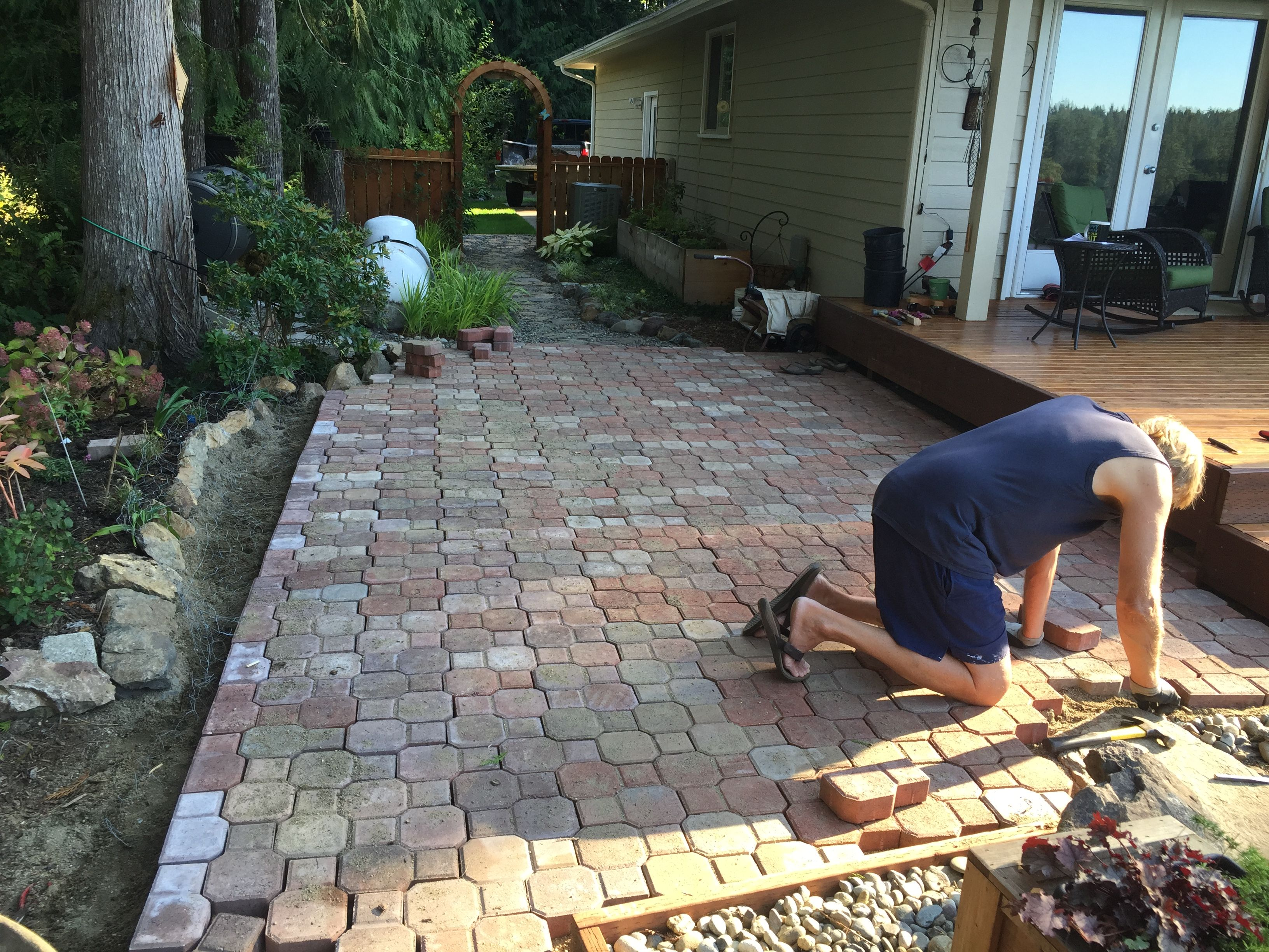 Installing side patio Aug 2015