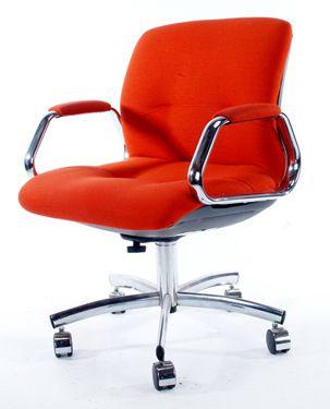 Lovely Retro Office Chair Description: 1970u0027s Groovy Mod Burnt Orange With Chrome  On Casters.