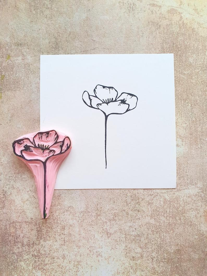thank you card wild flower stamp meadow background Grass rubber stamp for cardmaking eco gift for friend bullet journal decor
