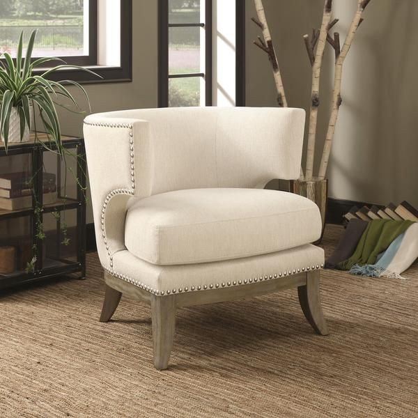 Luxenberg Mid Century Modern Barrel Back Design Soft Cream White Accent Chair With Nailhead Trim White Accent Chair Upholstered Accent Chairs Fabric Accent Chair