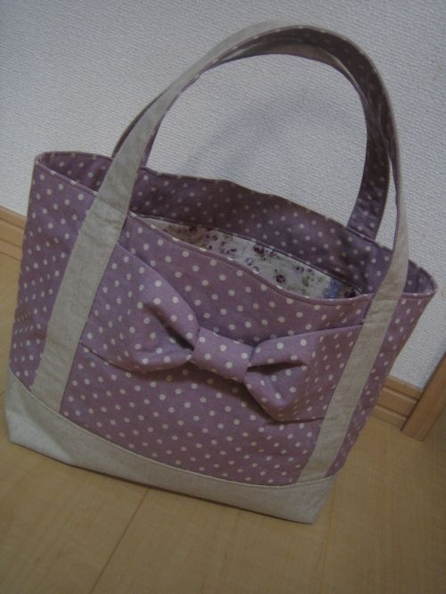 tutorial lined tote bag with a big bow japanese diy cosmetic stash bags pinterest. Black Bedroom Furniture Sets. Home Design Ideas