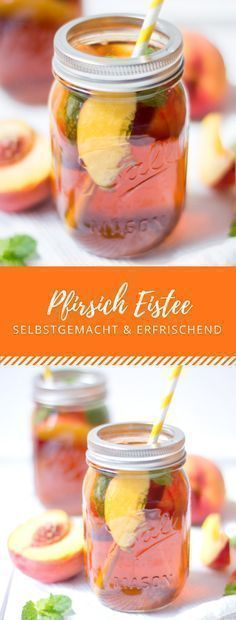 Selbstgemachter Pfirsich Eistee: Perfekte Erfrischung an heißen Tagen! #cocktails