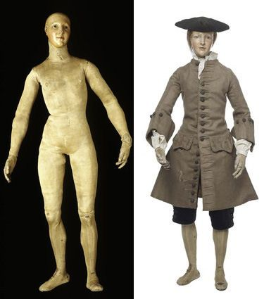 Roubilac's lay figure with & without clothes.The dressed figure looks to be correctly proportioned ( unlike a doll) but its stanz is still not completely life-like.