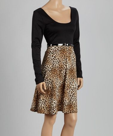 Another great find on #zulily! Black & Tan Leopard Belted Scoop Neck Dress #zulilyfinds