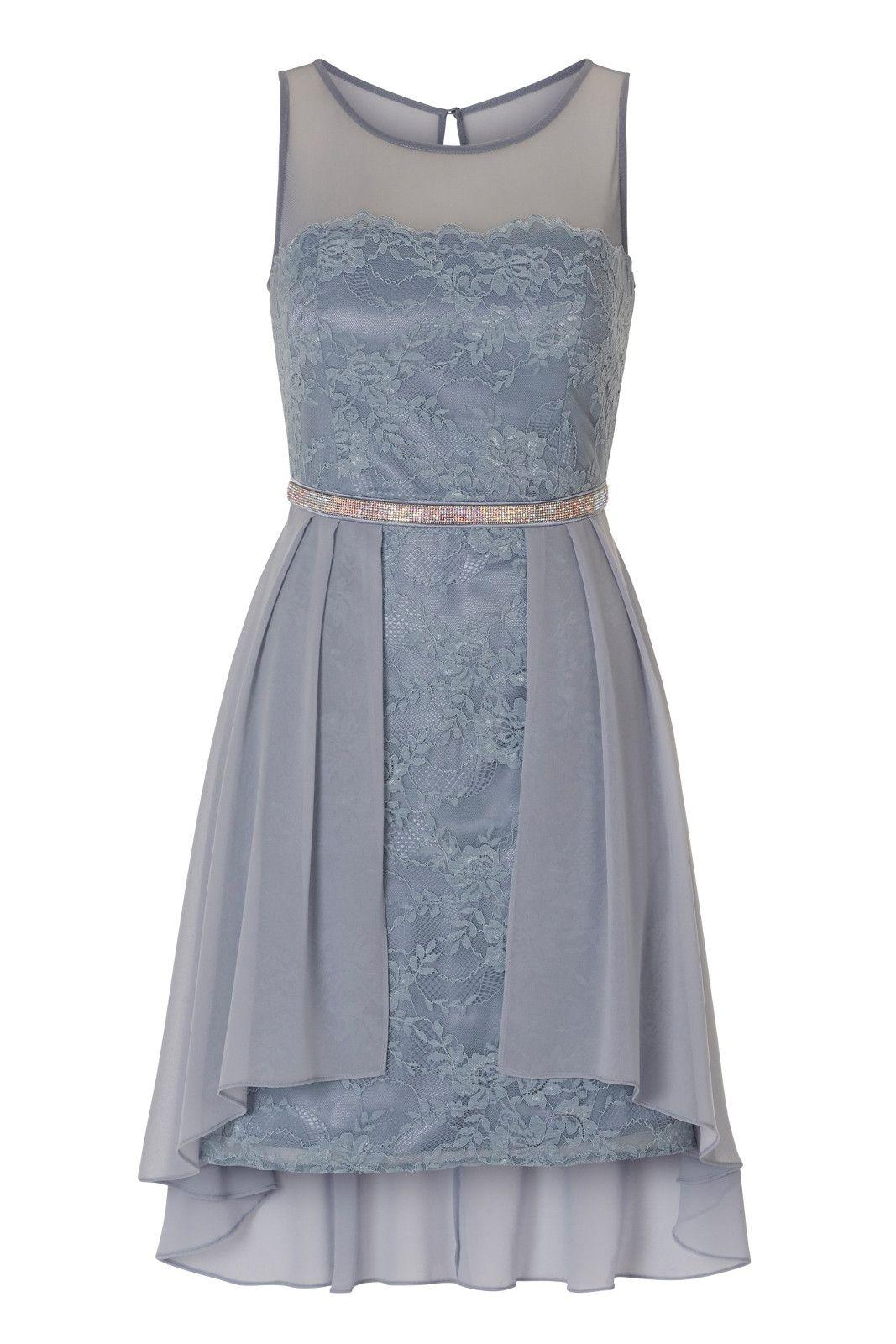 Vokuhila Kleid Aus Spitze Und Chiffon Cocktailkleid