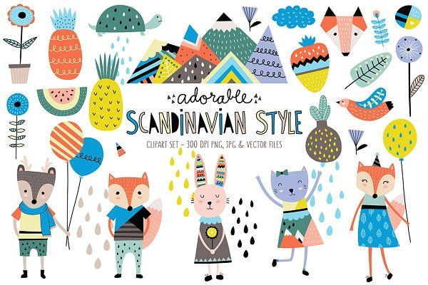 Cute Scandinavian Animals Designs By Kenna Sato Designs On Creativemarket Animal Design Illustration Scandinavian Style Design Elements