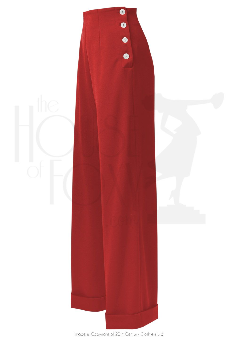 1940s Ladies Swing Trousers in Red